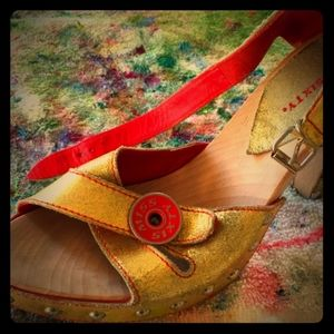 Miss Sixty wood/leather platform heels